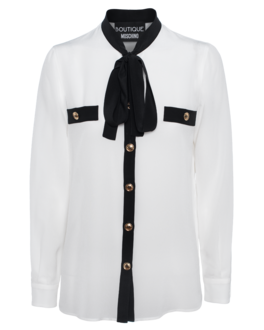 BOUTIQUE MOSCHINO Bow Seta Black White
