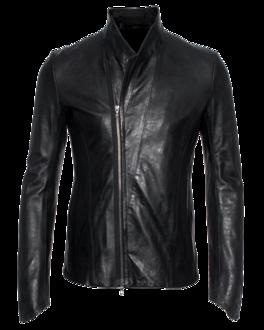 JULIUS Asymmetric Zip Leather Black