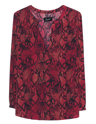 JADICTED V-Neck Snake Red