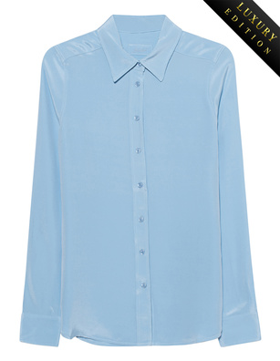 JADICTED Heavy Silk Basic Blouse Lightblue