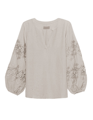 JADICTED Lace Blouse Beige