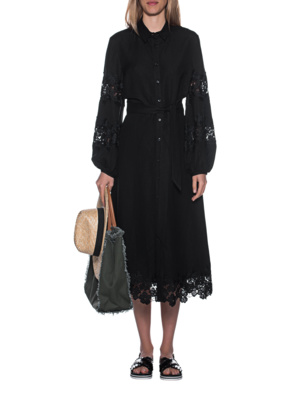 JADICTED Linen Dress Black