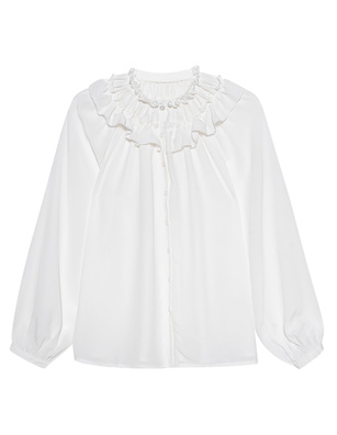 JADICTED Ruffle Silk White