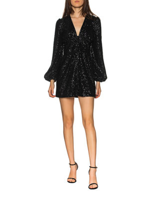 JADICTED Sequin Balloon Sleeves Black