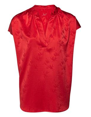 JADICTED Silk Pattern V-Neck Red