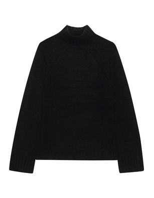 JADICTED Stand Up Collar Cashmere Knit Black