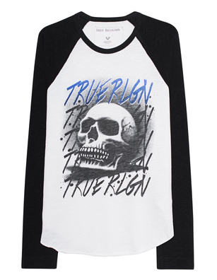 TRUE RELIGION Raglan Airbrush Black White