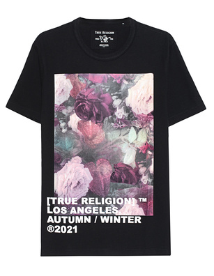 TRUE RELIGION Crew Neck Art Flower Black