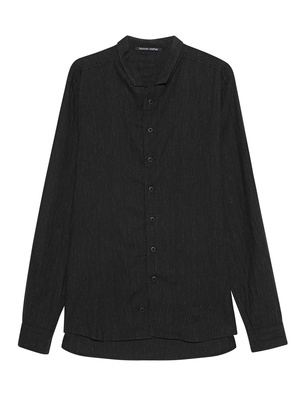HANNES ROETHER Pinstripe Shirt Black