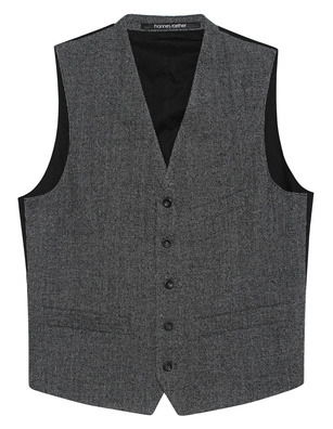 HANNES ROETHER Vest Checked Anthracite