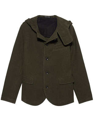 HANNES ROETHER Hoody Wool Dark Green