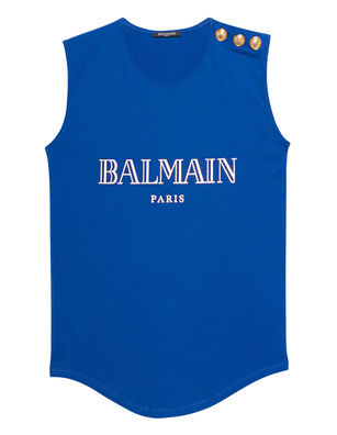 BALMAIN Sleeveless Label Blue