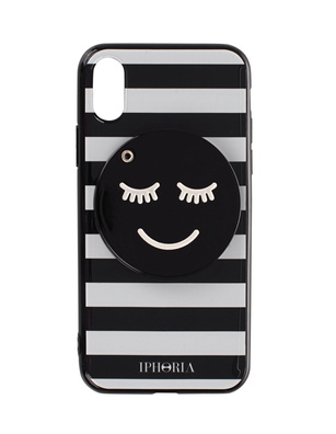 IPHORIA iPhone X Striped Smiley Black