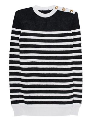 BALMAIN Stripes Black White Buttons