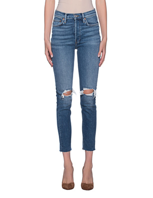 REDONE High Rise Ankle Crop Lightblue
