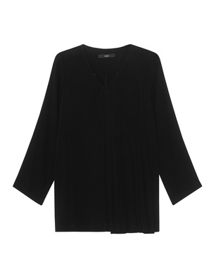 STEFFEN SCHRAUT Pleated V Neck Black