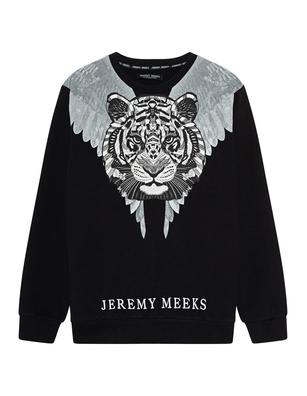 JEREMY MEEKS Tiger Head Print Black