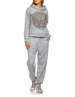 CAMOUFLAGE COUTURE STORK Jogger Rhinestone Tiger Grey