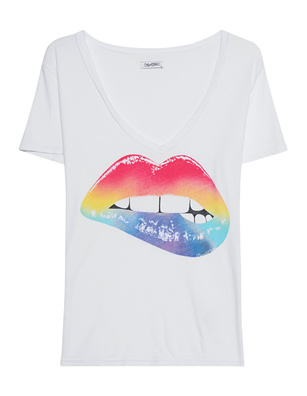 LAUREN MOSHI Cruz V-Neck Rainbow Biting Lip White