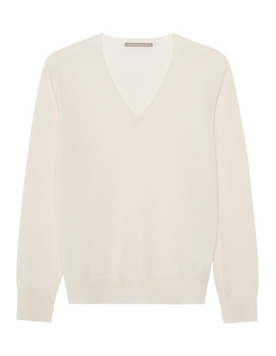 (THE MERCER) N.Y. Vneck Basic Cashmere Off White