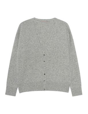 (THE MERCER) N.Y. V-NECK BASIC CASHMERE SILVERMELANGE