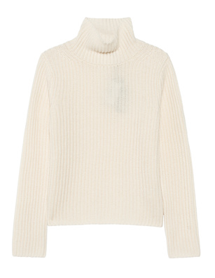 (THE MERCER) N.Y. Stand Up Collar Ribbed Cashmere Ivory