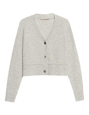(THE MERCER) N.Y. V Neck Button Flannel Melange Grey
