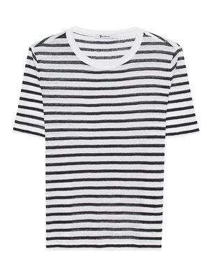 T BY ALEXANDER WANG Cropped Stripe Linen Tee White