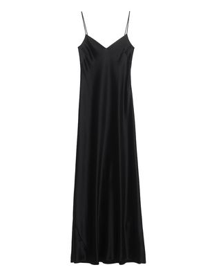 GALVAN LONDON Slip Dress Satin V Neck Black