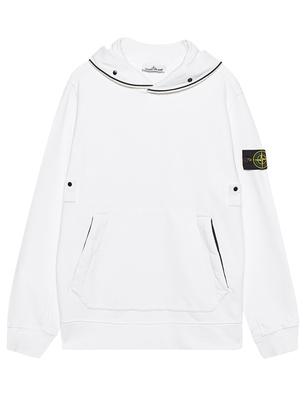 STONE ISLAND Button Zip Hood White