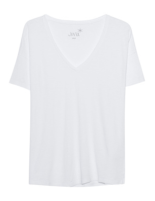 JUVIA Basic V-Neck Shirt White