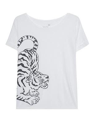 JUVIA Slub Boxy Tiger White