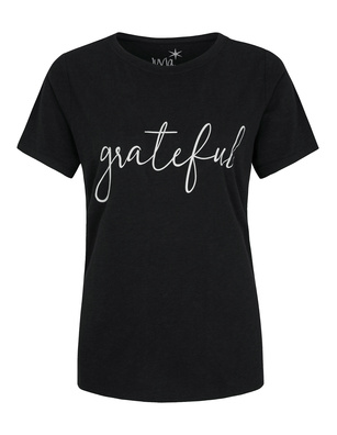 JUVIA Crew Neck Grateful Black