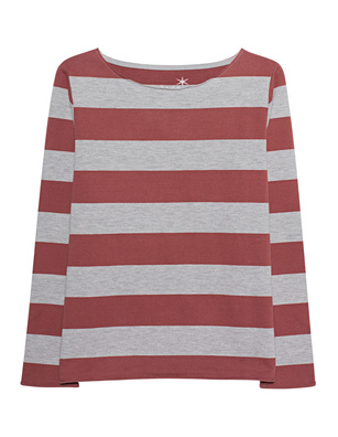 JUVIA Rolled Up Hem Striped Red