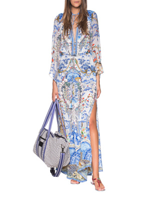 CAMILLA Geisha Gateways Drawstring Dress Blue