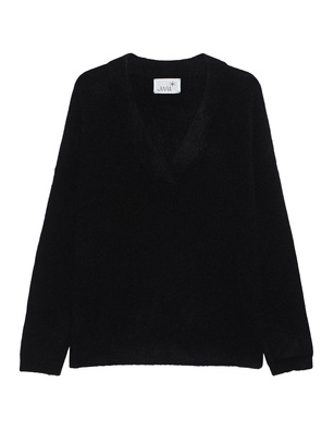 JUVIA Oversize V Neck Wool Black