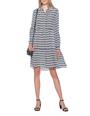 FROGBOX Zigzag Dress Black White