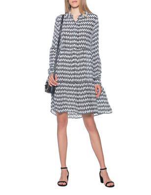 FROGBOX Zigzag Dress Black White