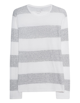 JUVIA Striped Crew Neck Light Grey