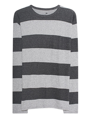 JUVIA Striped Crew Neck Anthracite