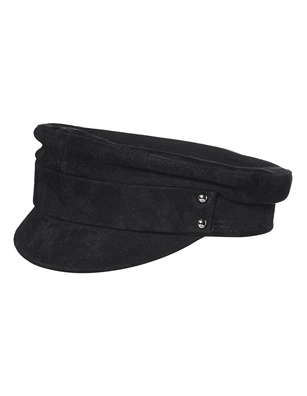 MANOKHI Biker Hat Suede Leather Black
