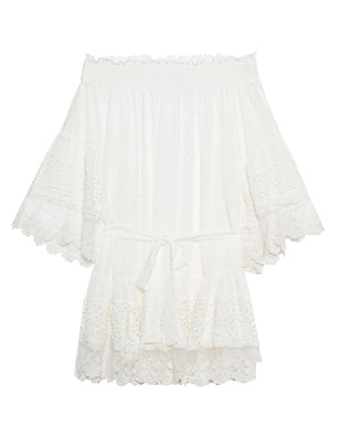 Melissa Odabash Alice Ruffle Lace Transparent White
