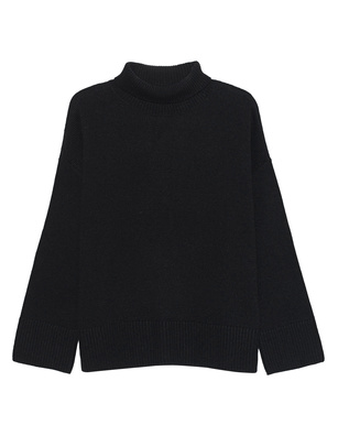 GREY MARL  Turtle Knit Blaxk
