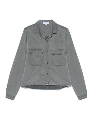 bella dahl Patch Pocked Frayed Shirt Olive