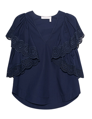 SEE BY CHLOÉ V Neck Crochet Navy