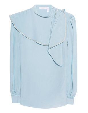 SEE BY CHLOÉ Blouse Volant Turquoise