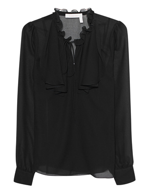 SEE BY CHLOÉ Transparent Ruffle Lace Black