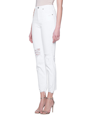 AG Jeans Phoebe Destroyed Straight  White