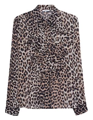 Ganni Mullin Georgette Leopard Brown