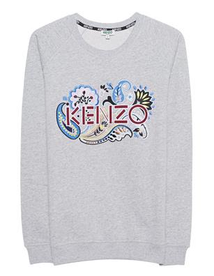 KENZO Flower Label Embroidery Grey